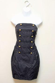 Double Zero Denim Strapless Military Sailor Dress with Pockets Large | eBay