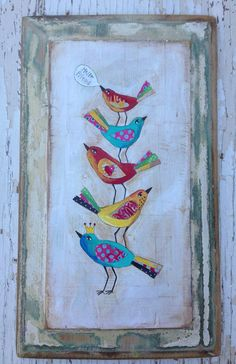 Wall Art Birds Folk Mixed Media on Etsy, $68.00