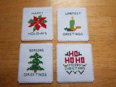 cross stitch Christmas magnets