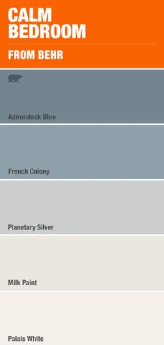 Nothing's more calming than this costal mix of blue and grey paint colors - Home decor interests Grey Paint Colors, Bedroom Paint Colors, Interior Paint Colors, Paint Colors For Home, House Colors, Gray Paint, Calm Colors For Bedroom, Interior Design, Blue Room Paint