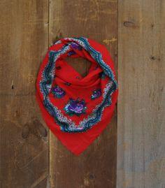 SALE / Vintage Scarf  Wool Scarf Rose Scarf by littleedenvintage, $19.00
