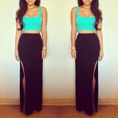 Such a sexy and cute summer outfit. Love the long skirts with the crop tops. Black with a pop of color.