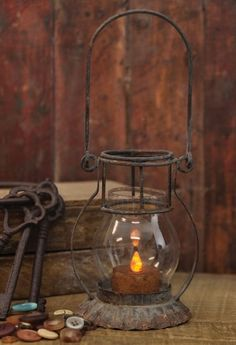 Primitive Petite Lantern Tealight Candle Holder