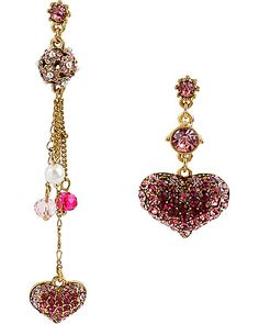 HANGING HEARTS MISMATCH DROP PINK accessories jewelry earrings fashion