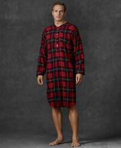 5df91cfeba Polo Ralph Lauren Men s Plaid Flannel Pajama Nightshirt Flannel Pajamas