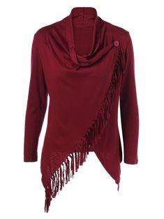 Fringe Asymmetrical Cardigan - WINE RED XL
