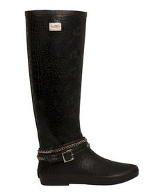 Take a look at this Black Edgy Leopard Rain Boot by däv on #zulily today!