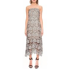 Keepsake the Label 'True Love' Strapless Lace Dress (6,085 HNL) ❤ liked on Polyvore featuring dresses, sheer dress, midi dress, lace slip dress, slip dress and lace midi dress