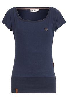 Naketano T Shirt creme braun Allover Druck Casual Look