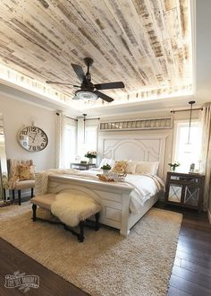 Master bedroom, rustic, home decor, diy decor, elegant, farmhouse shiplap, clock, fan, bedframe, pillows, king size bed #homedecor #masterbedroom #farmhousedecor #ad #ss