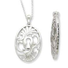 Believe in Miracles, Keyhole Necklace in Silver