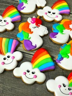 Unicorn+ Rainbow cookies *** This adorable set of bright unicorn and smiling rainbow cookies is a perfect party flavor! These would be a fun addition. Rainbow Unicorn Party, Unicorn Themed Birthday Party, Rainbow Birthday Party, 4th Birthday, Birthday Ideas, Rainbow Sugar Cookies, Teddy Bear Cookies, Teddy Bears, My Little Pony Cake