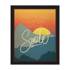 Horizon Art and Photo Decor 'Start and End Your Day With a Smile' Sunrise/Sunset Graphic Wall Art Print With Frame