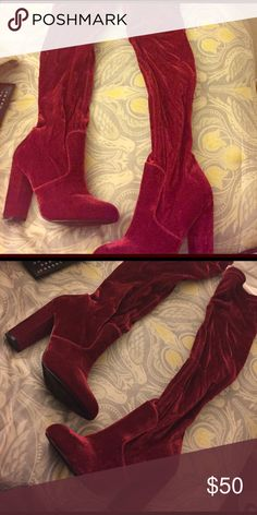 Velvet Red Thigh High Boots All Velvety Red, Thigh High Boot, Brand New ! Shoes Over the Knee Boots