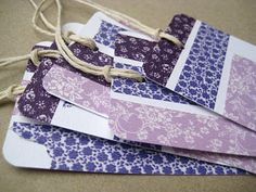 Purple and white tags made with Japanese washi tape