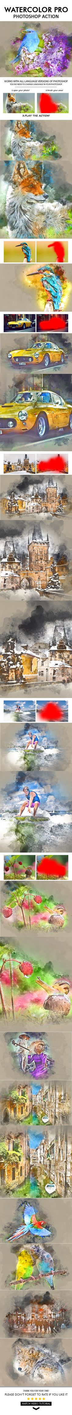 Watercolor Pro Photoshop Action Watercolor Action turns your photo into realistic watercolor picture. Action perfect works with portraits or other photos. Create professional watercolor artworks from your photos in the easiest possible way. Not only is it simple to generate the watercolor art, it then becomes lots of fun playing around with all the layers!After the action completes the rendering, it creates a well-organized layer structure.