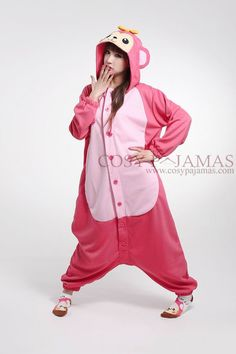 Pink Monkey Onesie Kigurumi Pajamas For Adults Pjs, Pajamas, Cool Costumes, Monkey, Onesies, Rain Jacket, Windbreaker, Raincoat, Dress Up