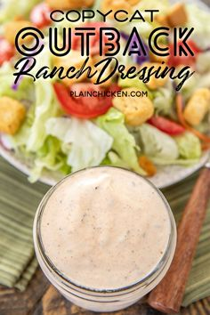 Copycat Outback Ranch Dressing – seriously the BEST ranch dressing I've ever eaten! Outback Ranch Dressing, Restaurant Ranch Dressing, Buttermilk Ranch Dressing, Homemade Ranch Dressing, Best Ranch Dressing, Molho Ranch, Copykat Recipes, Recipes, Mayonnaise
