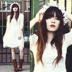 Chicwish White Dress, Paloma Lira Daisy Crown, Acne Studios Pixel Boot