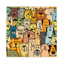 Animated Dogs and Cats illustrations Wooden Coaster