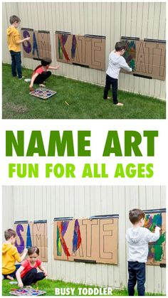 Your kids will love this GIANT NAME ART activity that's perfect for outside play this summer. Outside Activities For Kids, Summer Preschool Activities, Nanny Activities, Art Activities For Toddlers, Painting Activities, Montessori Activities, Collage Nature, Name Art, Outdoor Learning
