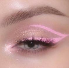 Glitter Makeup Looks, Makeup Eye Looks, Eye Makeup Art, Eyeshadow Makeup, Daily Makeup, Edgy Makeup, Pink Makeup, Cute Makeup, Pretty Makeup