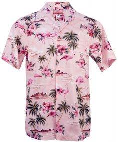 624e7249 Pink Flamingo Mens Hawaiian Aloha Shirt in Pink, Mens Hawaiian Shirts  Clothing, 102C-