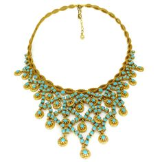 Vintage 1960s Gold Tone Turquoise Glass Necklace | Clarice Jewellery
