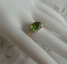 Rod Stelter Original - Peridot with diamond accent ring in 14kt yellow gold https://www.facebook.com/RodStelterJeweler/