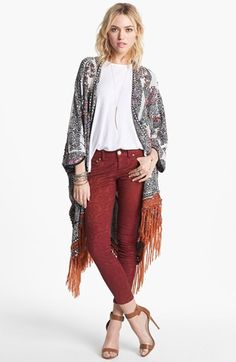 Free People Embroidered Fringe Cardigan