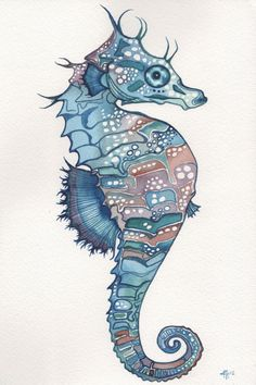 Sea Horse in whimsical watercolours 4 x 6 print of detailed hand painted artwork in aqua blue green teal earth tones