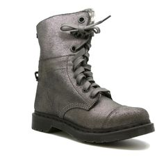 Dr. Martens Air Wair AIMILIE Pewter Metallic Leather Lace Up Combat Boots Size 8 #DrMartens #CombatBoots #Casual