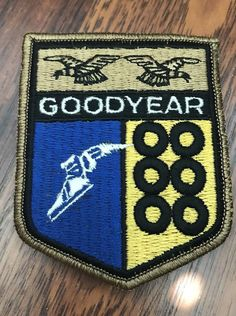 61755d9bbc821 Vintage GOODYEAR Shield Embroidered Patch Pin