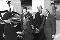May 26, 1954:  President Dwight D. Eisenhower welcomes Ethiopian Emperor Haile Selassie to the White House.