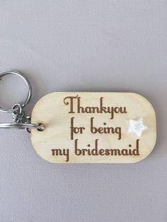 Bridesmaid keyring bridesmaid gift bridesmaid by Timberscrafts