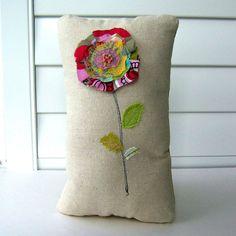 Flower Pillow,  Fabric flower Soft Sculpture, Appliqued flower pillow , Stitched Flower Pillow,  Flower Stem, Fabric Scrap Pillow - No. 185