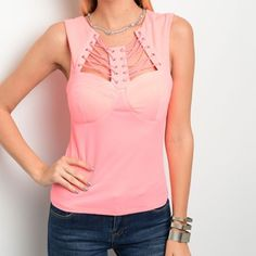 Arriving soon! Pink lace up fitted top! Available in S-M-L-ships Wednesday Tops Tank Tops