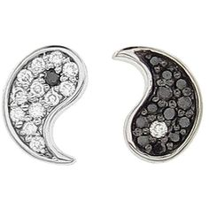 Sydney Evan Diamond Yin and Yang Stud Earrings ($460) ❤ liked on Polyvore featuring jewelry, earrings, 14k earrings, stud earrings, diamond stud earrings, black white earrings and diamond earrings