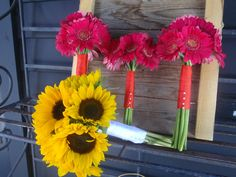 Sunflowers and Hot Pink Mini Gerberas for Beach Wedding