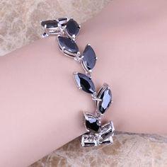 Divine Black Sapphire 925 Sterling Silver Overlay Link Chain Bracelet 7 - 8 inch Free Shipping & Gift Bag S0824  #bridal #earrings #bracelets #jewellery #weddingjewelry #jewelrysets #chain #rings #designerdivajewelry #jewelry