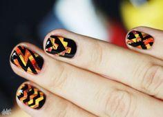 Bright patterned nail art on short nails :: one1lady.com :: #nail #nails #nailart #manicure