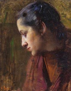 """""""Il Vestito Rosso"""" oil on card  by Alessandro Pomi"""
