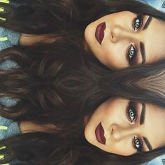 Smoky eye and burgundy lip