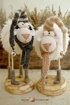 Игрушки животные, ручной работы. Ярмарка Мастеров - ручная работа Две овечки. Handmade.