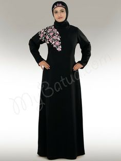 Beautiful Embroidered Black Party Wear abaya| MyBatua.com : Zawiya Occasion & Casual  Abaya!   Style No: Ay-248   Shopping Link :  http://www.mybatua.com/occasion-and-casual-wear-black-abaya  Available Sizes XS to 7XL (size chart: http://www.mybatua.com/size-chart/#ABAYA/JILBAB)   •Round neck A-line Abaya  •One side floral design machine hand embroidery in front & back of shoulder.  •Straight sleeves. •Matching Hijab and Band can be bought sepearately.  •Col