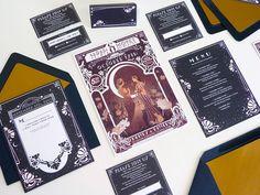 stephanie shafer illustrated custom art deco and art nouveau wedding stationery marsala and midnight blue