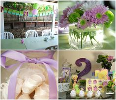 Elise's 2nd birthday - Tinkerbell party table and flowers