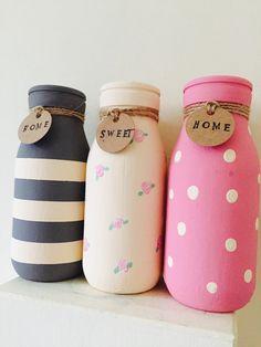 Set of 3 Individual painted milk bottles mini milk bottles Glass Bottle Crafts, Diy Bottle, Bottle Art, Mason Jar Diy, Mason Jar Crafts, Diy Home Crafts, Diy Arts And Crafts, Starbucks Bottle Crafts, Mini Milk Bottles