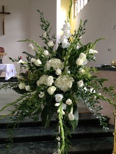 Close up of my church flower arrangement