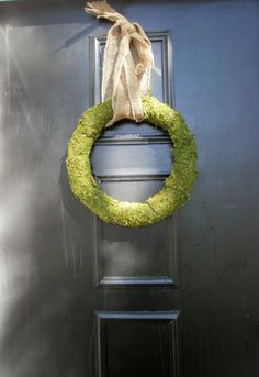 Spring / Summer - moss wreath with burlap. For after we repaint the front door.